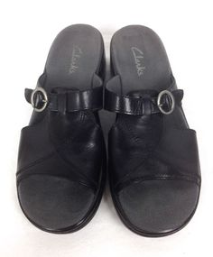 Clarks Shoes Womens Black Leather Sandals 8 #Clarks #Slides