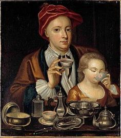 Man and Child Drinking Tea, circa 1720, Artist unknown but possibly Richard Collins. The first small bowls used for drinking the new beverage 'tea' were first imported from Japan. Furthermore, sugar was a luxury few could afford. It was considered worthwhile to pose with your fine china and sugar tongs to show your wealth.