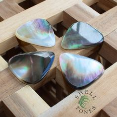 How gorgeous are these Shell Tones Black Mother Of Pearl Guitar Picks???