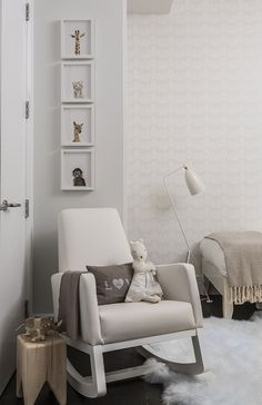 A sophisticated nursery featuring the joya rocker. Interior design by SISSY+MARLEY INTERIORS