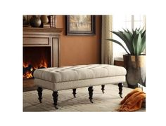 New Natural Linen Tufted Upholstered Bench Settee Ottoman Bed Seat Entryway Hall | eBay