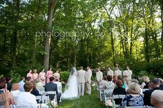 Heather and Joe's beautiful ceremony at the Glen Waterfall! Photo Credit: Photography by Ro #brandywinemanorhouse #chestercounty #philadelphiawedding #outdoorwedding