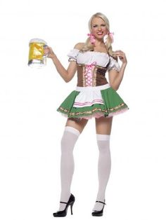 The beer may be cold, but you will be hotter than ever in our 2 pc Gretchen Sexy Beer Girl Costume this Halloween. The flowing dress with trim and stockings with bows will be one of your favorite looks! Beer Girl Halloween, Halloween Costumes For Girls, Girl Costumes, Adult Costumes, Costumes For Women, Nun Costume, Halloween Boo, Oktoberfest Costume, Oktoberfest Beer