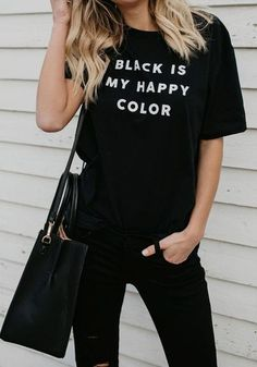 ByChicStyle Black Monogram Print Round Neck Casual Going out T-Shirt Club Outfits For Women, T Shirts For Women, Clothes For Women, Trendy Outfits, All Black Outfits For Women, All Black Outfit Casual, Black Tshirt Outfit, Girl Outfits, Black Clothes