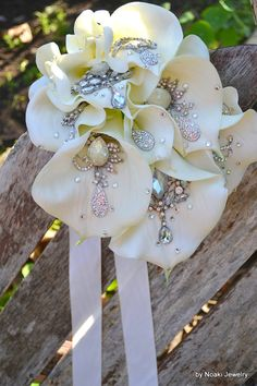 Crystal calla lily Downton Abbey style brooch bouquet arm by Noaki