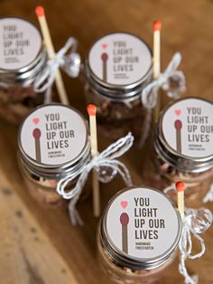 Make your own fire starter wedding favors! - Make your own fire starter wedding favors! Wedding Favour Jars, Honey Wedding Favors, Creative Wedding Favors, Inexpensive Wedding Favors, Elegant Wedding Favors, Edible Wedding Favors, Wedding Gifts For Guests, Diy Wedding, Summer Wedding