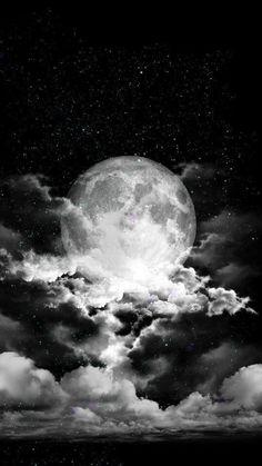 La Lune Noire – www. Night Sky Wallpaper, Star Wallpaper, Black Wallpaper, Galaxy Wallpaper, Wallpaper Space, Night Sky Moon, Stars At Night, Stars And Moon, Night Skies