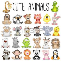 Illustration about Set of Cute Animals on a white background. Illustration of cute, lemur, koala - 65607715 Safari Animals, Baby Animals, Cute Animals, Funny Animals, Easy Drawings, Cute Cartoon, Painting & Drawing, Applique, Doodles