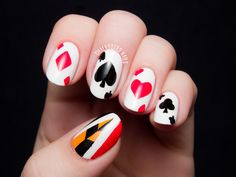 Off With Their Heads! Queen of Hearts Nail Art via @chalkboardnails