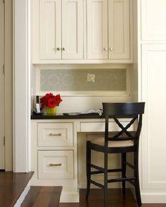 kitchens - desk, built in desks, built in desk,  connecticut kitchen  office area in kitchen