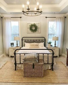 The ideas presented in this article will be of great use while you are preparing to decorate a master bedroom, especially if you have a small master bedroom. There are multitudes of ways to make a small master bedroom look… Continue Reading → Farmhouse Style Bedrooms, Farmhouse Master Bedroom, Rustic Master Bedroom Design, Walnut Bedroom, Farm Bedroom, Bedroom Fun, Bedroom Yellow, Small Master Bedroom, Modern Bedroom