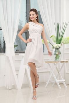 Lovely One Shoulder Emppire Waist Knee-Length Chiffon Bridesmaid Dress,US$148.98 ,Style No.0bd01144