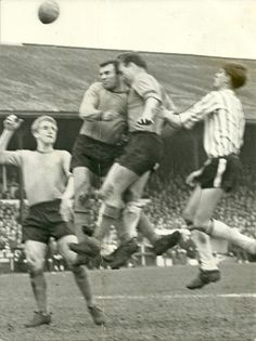 Grimsby T. 1 Hull City 0 in April 1966 at Blundell Park. Hull defenders Dennis Butler and Andy Davidson have a head collision #Div3