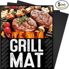 5-Piece-Set BBQ Grill Mat, 100 Percent Non Stick, Extra Thick Heavy Duty, Reusable