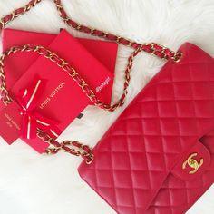 """❤#Red on #LunarNewYear ❤ Happy Sunday Loves  #LouisVuitton #Chanel"""