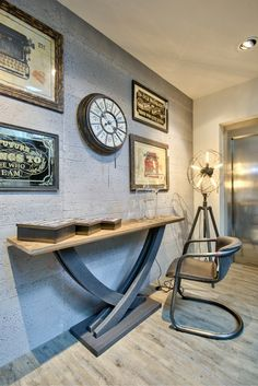 in old base in dark grey colour - in - Live In Style, Dark Grey Color, Brown Furniture, Console, Shabby Chic, Gallery Wall, Clock, Base, Metal