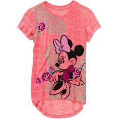 Disney Minnie Mouse Girls' Short Sleeve Hi Lo Hacci Graphic Top - Walmart.com