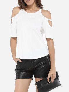 Spaghetti Strap Dacron Hollow Out Plain Short Sleeve T-shirt