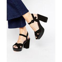 Miss KG Gwen Black Platform Sandals ($135) ❤ liked on Polyvore featuring shoes, sandals, black, strappy platform sandals, black high heel shoes, black strappy sandals, black sandals and platform sandals