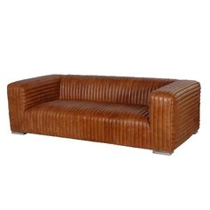 Ribbed Brown Leather Sofa