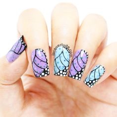 .Fairy Butterfly Wings Nail Art using piCture pOlish Starry Night, Geode & Jasmine