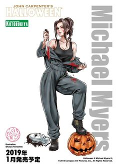 An illustration of the Halloween Michael Myers bishoujo concept by Shunya Yamashita and Kotobukiya! Click the link to see photos and discover where to buy this great statue! Anime Sexy, Anime Sensual, Michael Myers, Horror Icons, Horror Art, Horror Movies, Female Horror Characters, John Carpenter Halloween, Bishoujo Statue