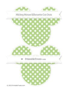 Pastel Light Green Dotted Pattern  Large Mickey Mouse Silhouette Cut Outs