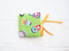 Grass green Matryoshka needle book with two yellow by poppyshome, $10.00