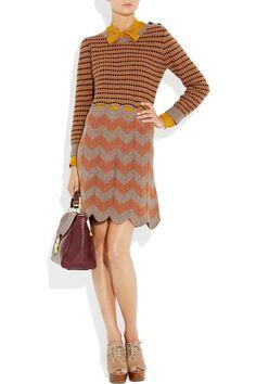 See by Chloé Cutout-Waist Striped Wool Dress