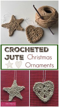 Crochet Patterns Ideas Pattern your jute to look like this DIY tutorial this christmas. Christmas crafts are here! Lets decor like never before. - Easy crocheted jute Christmas ornaments to add a rustic look to your Christmas tree this year! Crochet Christmas Decorations, Crochet Ornaments, Christmas Crochet Patterns, Holiday Crochet, Crochet Snowflakes, Diy Christmas Ornaments, Crochet Gifts, Yarn Crafts, Holiday Crafts