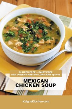 Best Soup Recipes, Chili Recipes, Great Recipes, Pinto Bean Soup, Pinto Beans, Frozen Cauliflower Rice, Leftover Rotisserie Chicken, South Beach Diet, Mexican Chicken