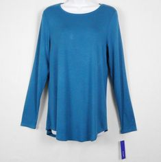 7d29536574 Apt 9 Womens Tunic Top Blue Size M S Rayon Solid Long Sleeve Crew Neck  Basics