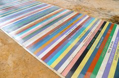 Jim Lambie: Untitled (detail) 2014, Coloured concrete, 103 x 3 m, Public artwork, Barrowland Park, Glasgow, Commissioned as part of the Glasgow 2014 Cultural Programme