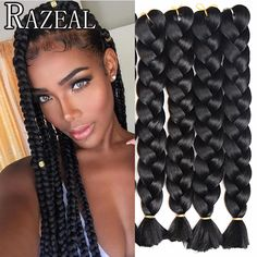 Hair Extensions & Wigs Lovely Razeal 20 Ombre 100g Crochet Braids Synthetic Braiding Hair Jumbo Braids Hair Extension High Temperature Fiber