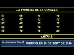 Video Quiniela Nacional La Primera Miercoles 28 de Septiembre de 2016 Pizarra del sorteo desde el recinto de Loteria Nacional a las 11:30 hs