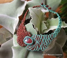 brown turquoise choker by Dabu's Macrame Creations, via Flickr