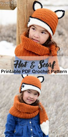 Make a cozy hat & scarf. Hat & Scarf crochet pattern - Hooded Scarf Crochet Patterns Great Cozy Gift - A More Crafty Life Slouch Hat Crochet Pattern, Crochet Hooded Scarf, Crochet Baby Hats, Crochet Scarves, Crochet For Kids, Crochet Patterns, Crochet Children, Hooded Cowl, Diy Crochet For Beginners