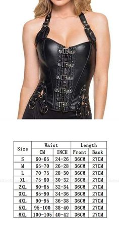 f96ec8eaec1 Black adjustable halter steampunk corset faux leather buckle lace up waist  trainer corset and bustier steel