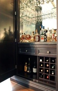 Dry Bar Design, Pictures, Remodel, Decor and Ideas - page 4 All behind a tall door. Built In Wine Rack, Diy Bar, Wine Cabinets, New Kitchen, Kitchen Ideas, Wine Storage, Glass Shelves, Home Remodeling, Home Kitchens