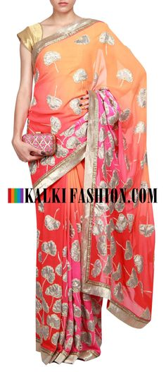 Buy Online from the link below. We ship worldwide (Free Shipping over US$100) http://www.kalkifashion.com/saree-featuring-in-shades-of-orange-pink-and-red-is-enhanced-in-applique-work-only-on-kalki.html