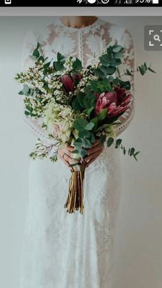 Wedding bouquet is an important bride's accessory. There are plenty different kind of flowers and seven of the most popular bridal bouquet shapes. Bouquet Bride, Protea Bouquet, Wedding Bouquets, Wedding Dresses, Rustic Bouquet, Protea Wedding, Eucalyptus Bouquet, Rustic Flowers, Flower Bouquets