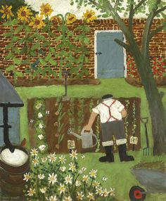 Gary Bunt Bert's been very busy Tending to his beds The sunflowers are doing well His tomato's nice and red He's tidied up his borders The barrows full of weeds And just before he goes for his tea He's watering his seeds