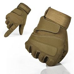 TPRANCE® Reinforced Tactical Gloves Tan PU Leather + Nylon Outdoor/Fahrrad/Shooting/Driving with Adjustable Velcro M