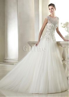 Robe de mariée charmeuse strass taille ligne a textile en tulle
