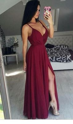 95f37cd6988 Outlet Suitable Burgundy Prom Dresses Simply Elegant Straps Burgundy Long  Chiffon Prom Dress With Side Slit Burgundy Prom Dress