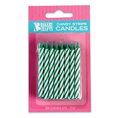 Oasis Supply Candy Stripe Birthday Candles, 2.5-Inch, Green
