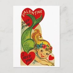 Vintage Valentine Cards, Valentine Day Cards, Vintage Cards, Valentine Day Gifts, Valentine Heart, Xmas Cards, Valentines Day Holiday, Holiday Invitations, Vintage Mermaid