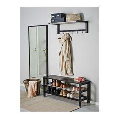 TJUSIG Bank met schoenenopberger - 108x50 cm, zwart - IKEA