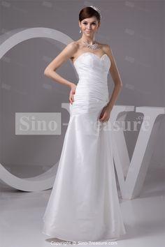 Sweetheart Floor-length Taffeta Zipper-back Column/Sheath Wedding Dress