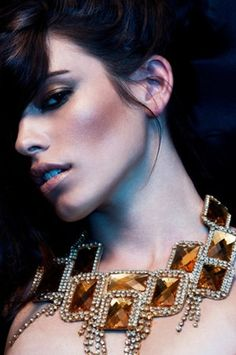 Statement Necklace Gold Crystal Rhinestone Bib by EzzaExclusive